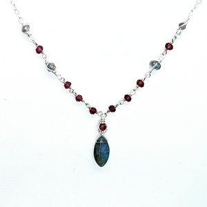 Labradorite garnet & 92.5 sterling silver necklace